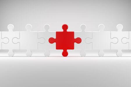 3d illustration, Puzzle symbolizes Team spirit