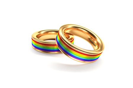 3d illustration wedding rings symbolizing the same sex marriage illustration - Same Sex Wedding Rings