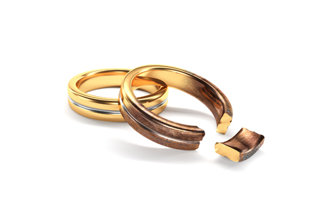 color separation: 3d illustration, Wedding Rings symbolizing the divorce between two people Stock Photo