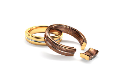 divorce: 3d illustration, Wedding Rings symbolizing the divorce between two people Stock Photo