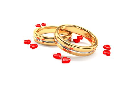 symbolize: 3d illustration; Wedding Rings symbolize a marriage Couple
