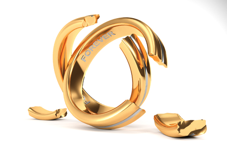 parting: 3d illustration, Wedding Rings symbolizing the divorce between two people Stock Photo