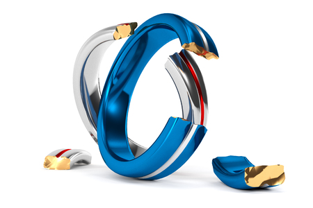 parting: 3D Illustration; broken Wedding Rings symbolize the Brexit