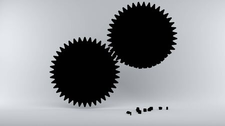 power failure: 3d illustration; Gears with broken teeth symbolize Error in the System Stock Photo