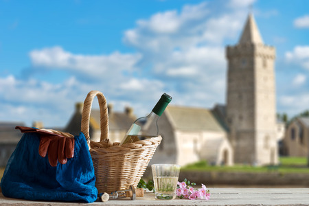 manche: Picnic in Front of old Church in the Normandy