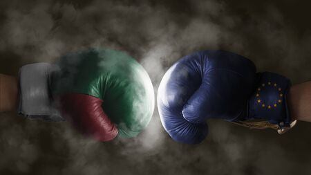 yes or no to euro: Italexit, Symbol of a Referendum Italy vs EU