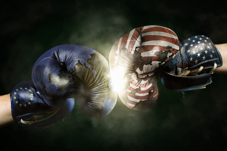 allies: Political Crisis between EU and USA symbolized with Boxing Gloves