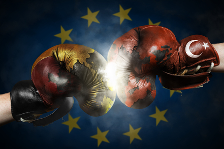 Political Crisis between Turkey and Germany symbolized with Boxing Gloves