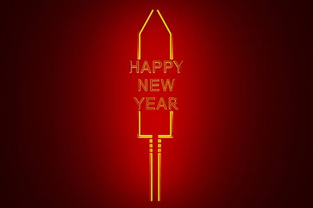 3d illustration Stylized New Year's Eve rocket on colored background