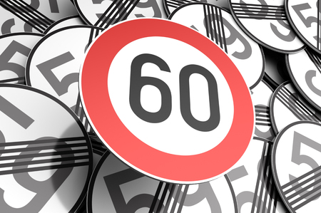 3d illustration Reaching the 60th birthday illustrated with traffic signs