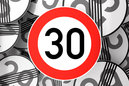 3d illustration Reaching the 30th birthday illustrated with traffic signs Standard-Bild
