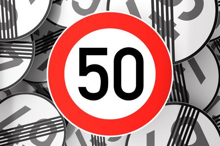 3D-Darstellung Erreichen des 50. Geburtstags mit Verkehrszeichen dargestellt Standard-Bild - 80382898