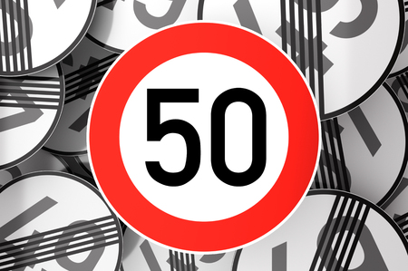 Ilustración 3D Al llegar al 50 cumpleaños ilustrado con señales de tráfico Foto de archivo - 80382898