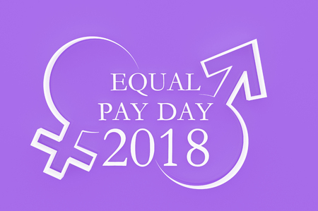 3D illustration; Shape of chess piece with Text Equal Pay Day