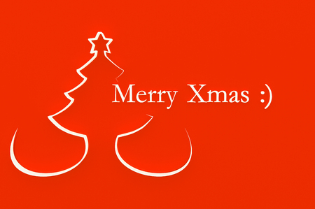 3d illustration Stylized Christmas tree on red background