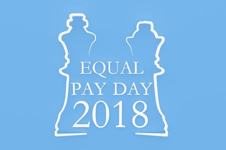 """3D-Darstellung; Schachfigur mit Text """"Equal Pay Day"""" Standard-Bild - 80268117"""