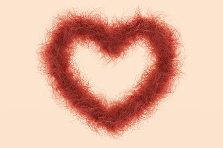 3d darstellung; Herzform mit rotem Haar als Symbol gegen die weibliche Rasur Standard-Bild - 80381409