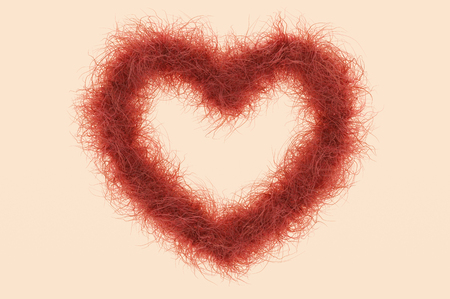 conscious: 3d illustration; Heart Shape with red Hair as Symbol against the female Shave Stock Photo