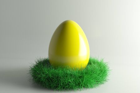3d illustration; Easter Nest with big yellowl Eggs