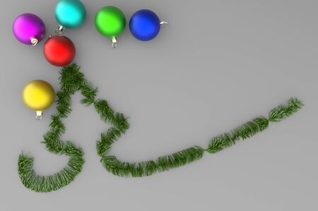 3d illustration green Christmas Tree with colorful Balls