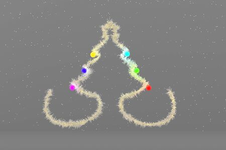 3d illustration white Christmas Tree with colorful Balls