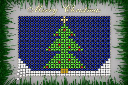 3d illustration Xmas tree shaped from Christmas Balls