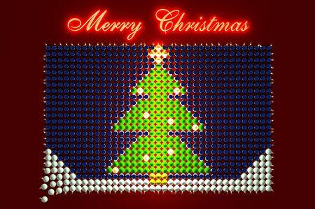 3d illustration glühende weihnachtsbaum geformt von weihnachtskugeln Standard-Bild - 80780041
