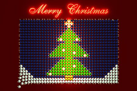 3d illustration glowing Xmas tree shaped from Christmas Balls