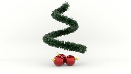 3d illustration green Christmas Tree with red Balls Lizenzfreie Bilder