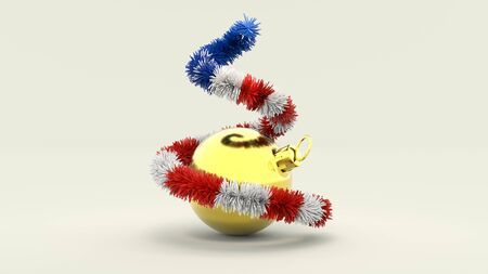 3d illustration Christmas Tree in the Colors of the USA with golden Ball