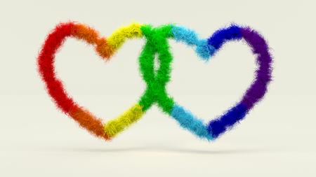 3d illustration, fleecy Shape of two Hearts symbolizing the same sex relationship Lizenzfreie Bilder