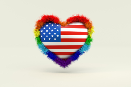 3d illustration, Shape of Heart in Rainbow Color against discrimination in America