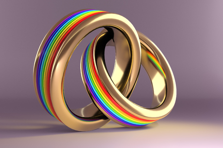 3d illustration, Wedding Rings symbolizing the same sex marriage Lizenzfreie Bilder