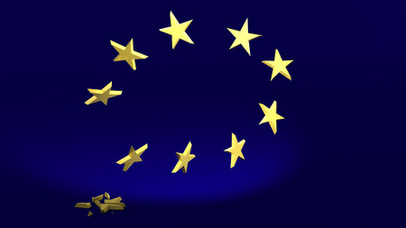 3D Illustration; falling Star symbolize the Brexit