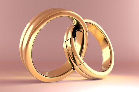3d illustration, Wedding Rings symbolizing the Reunion between two people Standard-Bild