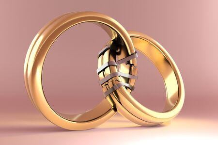 3d illustration, Wedding Rings symbolizing the Reunion between two people Lizenzfreie Bilder