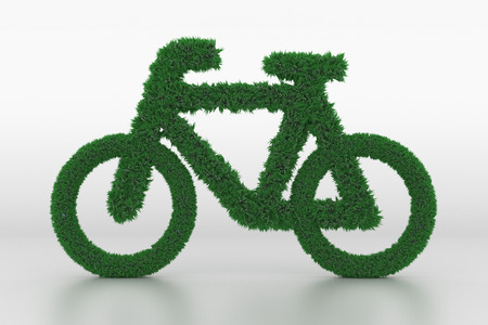 3D Illustration, Shape of a Bicycle with Grass Standard-Bild - 101195542