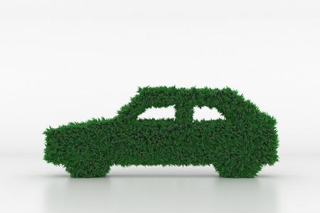 3D Illustration, Shape of a Car with green Grass Standard-Bild - 101195543