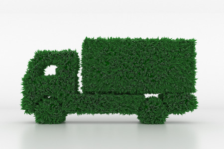 3D Illustration, Shape of a Truck with green Grass