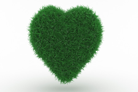 3D Illustration, Shape of a Heart with green Grass