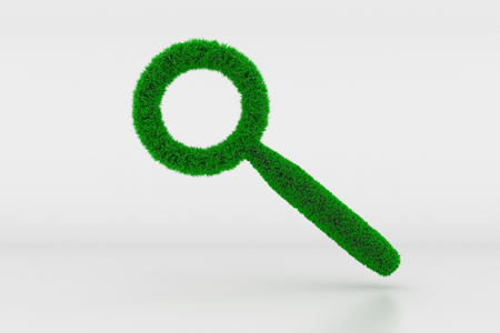 3D Illustration, Shape of a magnifying glass Sign with green Grass
