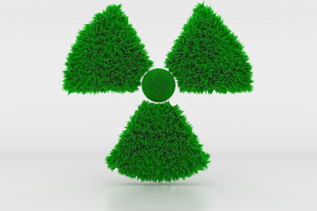 3D Illustration, Shape of a Radioactive Sign with green Grass Standard-Bild