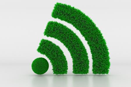 3D Illustration, Shape of a Wifi Sign with green Grass Standard-Bild - 102203785