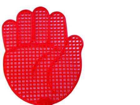 fend: Isolato su sfondo bianco a mano rosso