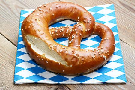 pretzel: Pretzel on table with napkin