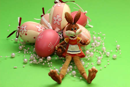 snacking: Easter - Easter bunny with eggs Stock Photo
