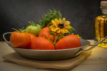 Tomatoes with sunflower