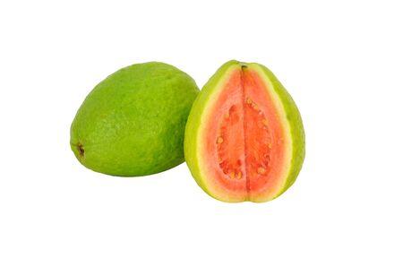 2 Guavas isolated on white background Stock Photo