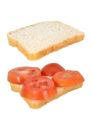 Open sandwich with tomato isolated on white background