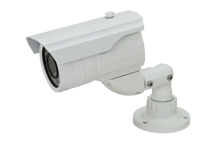 infra red: security camera infra red isolated on white background Stock Photo
